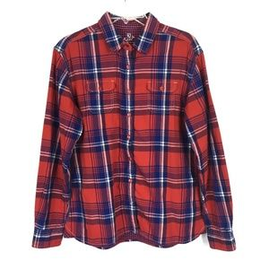 Kuhl Red Blue Plaid Button Up Long Sleeve Shirt L